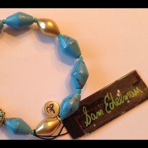 New Sam Edelman gold-tone metal turquoise bracelet